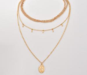 1Pcs-Fashion-Unisex-Multilayer-Catholic-Religious-Virgin-Mary-Pendant-Necklace