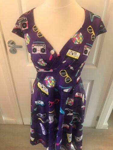 Retro Tape Cassettes 8-20 Alternative 80/'s Purple Ladies Wrap Front Dress