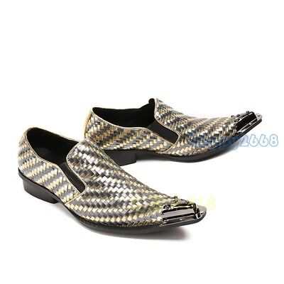 Mens Metal Pointy Toe Real Leather Formal Dress Shoes Low Cuban Heels Loafer 46