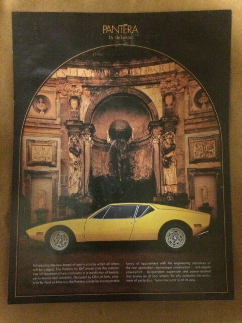 DeTomaso Pantera original, first color sales flyer, yellow push button door car