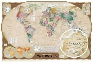 WORLD MAP - TRIPEL PROJECTION POSTER - 24 x 36 GEOGRAPHY 33417