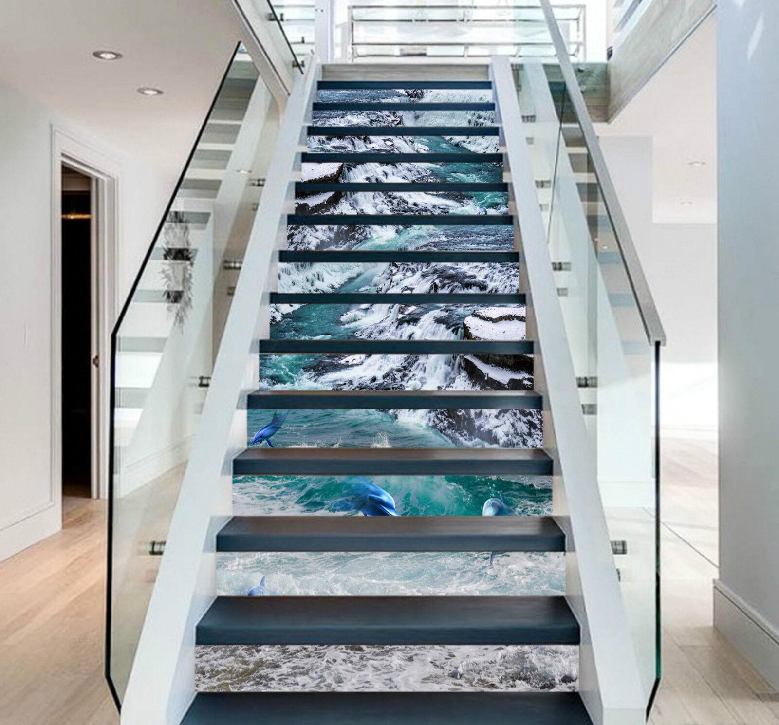 3D Flußdelphine 074 Stair Risers Dekoration Fototapete Vinyl Aufkleber Tapete DE