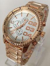 Ladies Men's Watch Rose Gold Luxury Metal Strap Classic White Smart New Designs