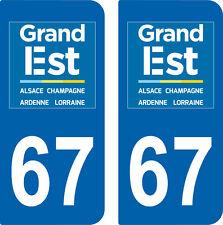 2 Stickers style immatriculation auto Département Grand-EST BAS-RHIN 67