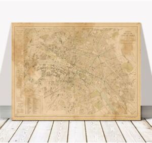 Vintage Illustrated Street Map of PARIS 1883 Poster CANVAS PRINT ...