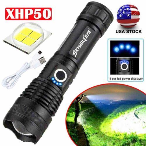 26650 XHP P50 MOST POWERFUL Focus FLASHLIGHT Zoom USB TORCH HUNTING LAMP Power