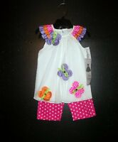 Rare Editions Toddler Girl 2pc Set Outfit Spring Dots Flowers Casual 2t
