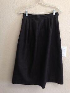 Perkins Shearer Dark Gray Fully Lined Wool Long Skirt Size 6