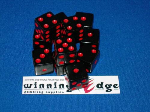 NEW 12 BLACK DICE w/ RED PIPS 16MM BUNCO YAHTZEE CRAPS FREE SHIPPING