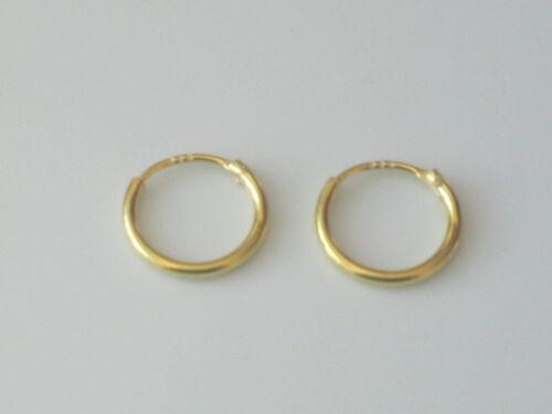 9ct Gold Plated 925 Sterling Silver Hinged Sleeper Hoop Earrings 11 13 15 /& 18mm
