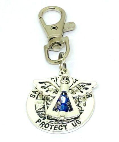 Birthstone St Christopher /& Guardian Angel swivel keyring Lucky bag Charm Gift