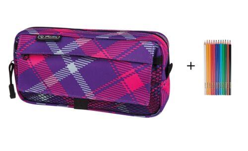 12 Buntstifte Farbe violett-pink Herlitz Faulenzer mit 2 Aussentaschen