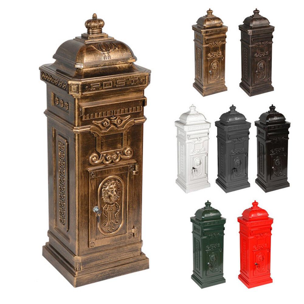 Antiker Aluminium Standbriefkasten nostalgischer Briefkasten LUNA antik Messing