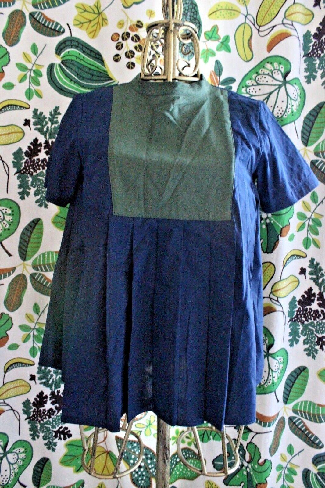 Sacai Grün Blau Babydoll Pleated Top Blouse Größe 1