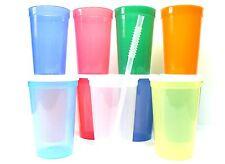 12 Large 20 Oz Plastic Drinking Glasses Lids Straws Mfg USA Recyclable No BPA