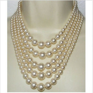 """22"""" Gorgeous AAA five strands 3-10mm Akoya White Natural  Pearl Necklace"""