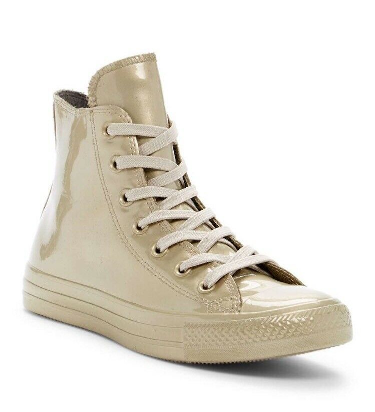 NIB Converse Chuck Taylor All Star Metallic High Top Sneaker, Light Gold, Size 7
