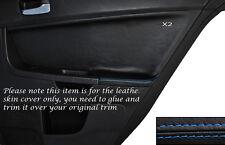 BLUE Stitch 2x POSTERIORE PORTA CARD Trim pelle copertura Si Adatta Mitsubishi Lancer Evo X 10