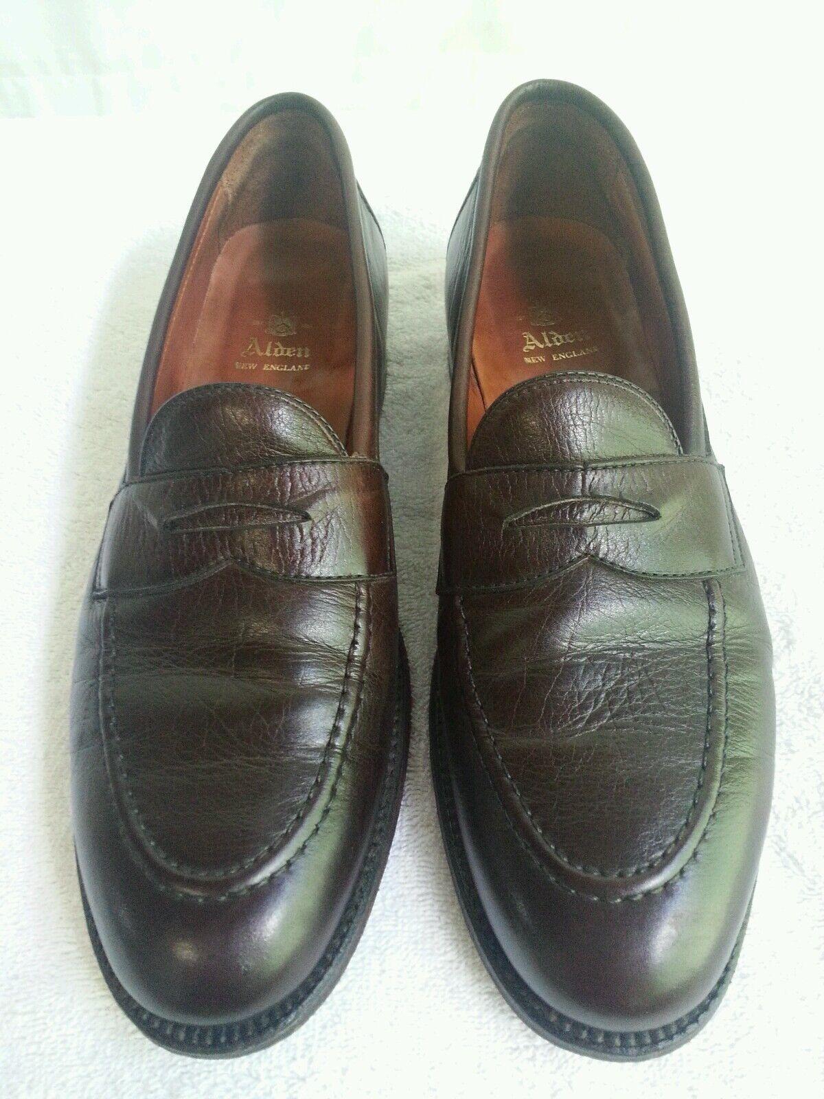 Men's Alden Nueva Inglaterra Oscuro Marrón Cuero Mocasines De Vestir Zapatos B