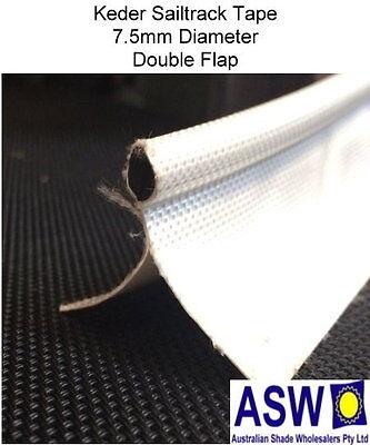 10m Length KEDER Sail Track Tape WHITE Sew On Fabric Edge Sailtrack Shade Cloth