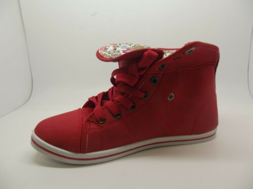 TRENDY NEW LADIES GIRLS EX STORE FAUX LEATHER RED FOLDOVER ANKLE BOOTS 3-8