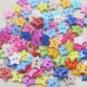 100-Stuecke-Baby-Kinder-Mischharz-Pentagram-Sternknopf-2-Loecher-O7U1