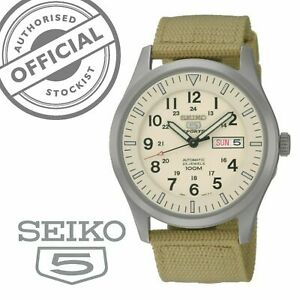 Seiko-5-Sports-Automatic-Beige-Canvas-Strap-Mens-Watch-SNZG07K1-RRP-249