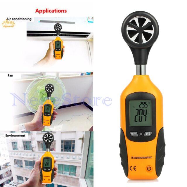 Handheld Digital LCD Air Wind Speed Gauge Meter Thermometer Anemometer Velocity