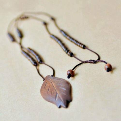 1pc Retro Wood Carved Leaves Pendant Long Sweater Pendant Necklace for Women