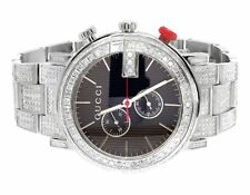 2d5f89a84d4 Custom Mens Gucci 101 G-Chrono 44MM White PVD Full Diamond YA101361 Watch  10 Ct