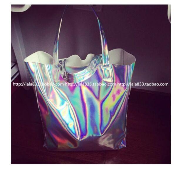 Bling HOLOGRAPHIC hologram Silver Rainbow shoulder shopping bag Tote laptop