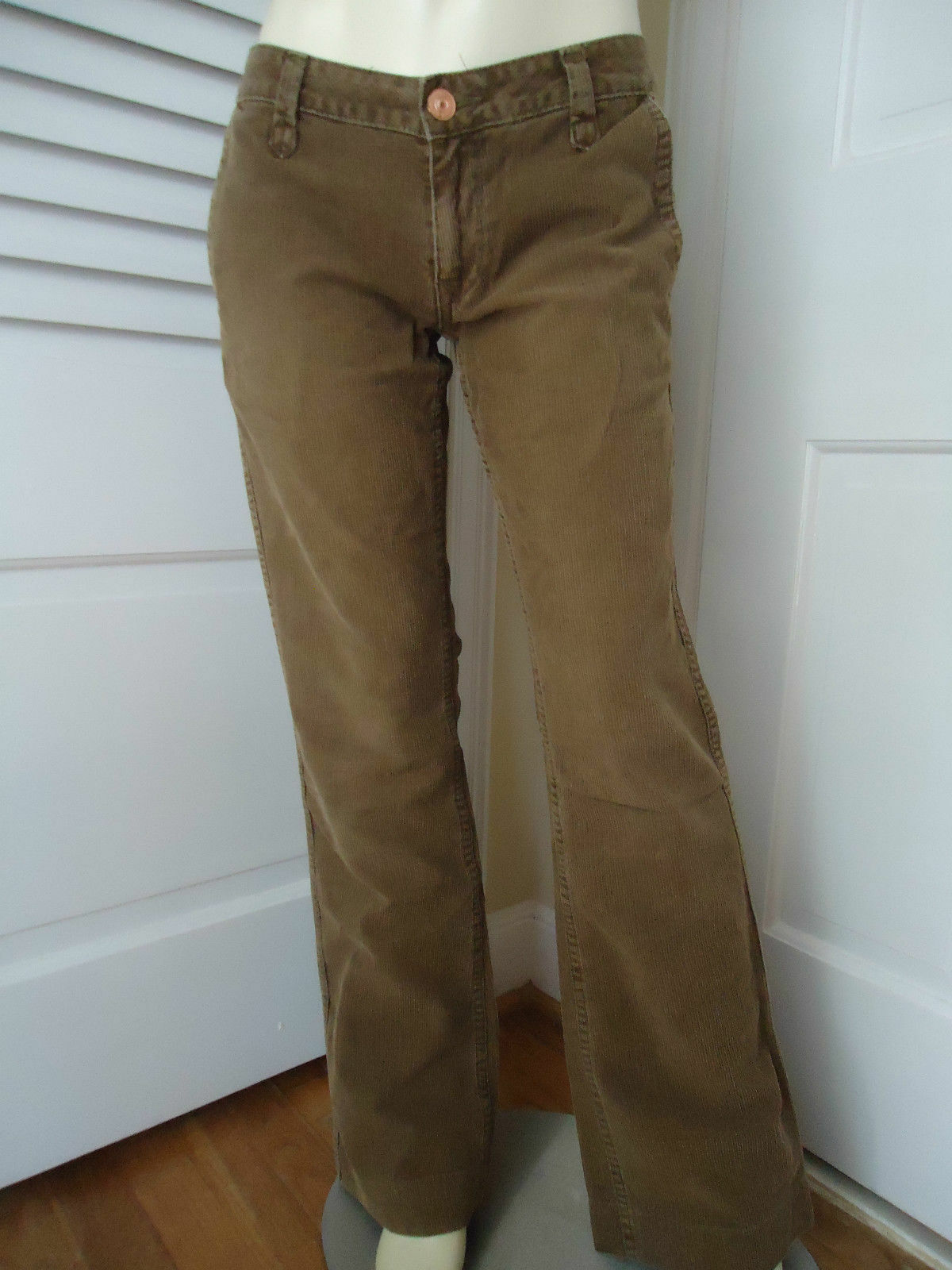 Earnest Sewn Pants 27 Brown Cotton Corduroy Low Rise Button Zip Front