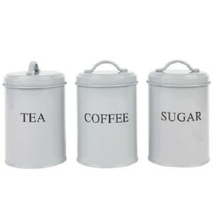 Image Is Loading Set Of 3 Tea Coffee Sugar Kitchen Storage