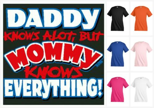 Mommy knows everything funny graphic T-shirt Kids Children Girl Boy tee KP232