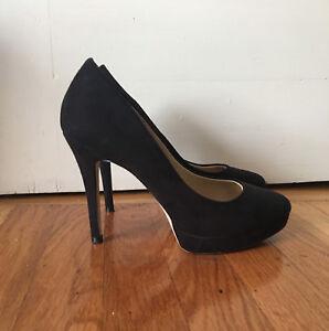H\u0026M Black Suede Leather High Heel