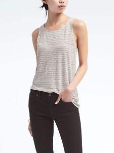 NEW-Banana-Republic-Womens-Signature-Linen-Muscle-Tank-Top-Shirt-Stripe-M-8-L-12