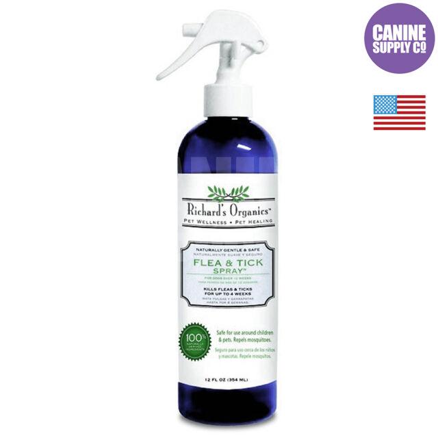Richard's Organics Flea & Tick Spray For Dogs (No Harsh Chemicals), 12-Ounce