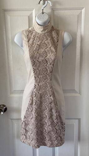 Bebe Cafe Au Lait Lace Crochet Sheath Dress Size 0