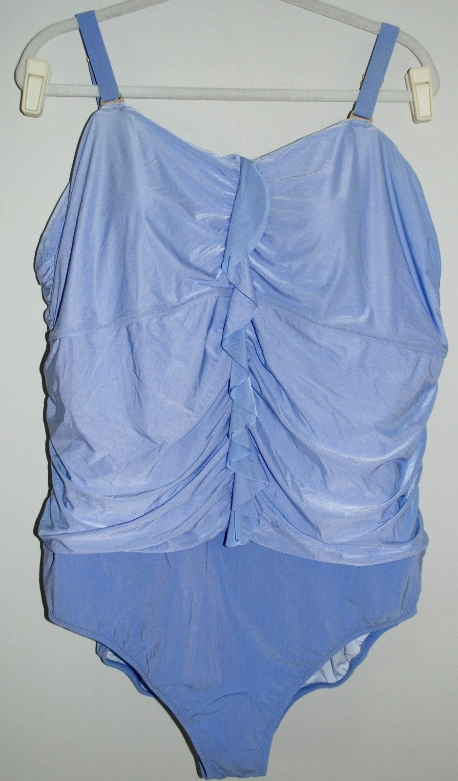 Lands End One Piece Swimsuit - bluee - Plus Size 26W - Blouson Ruched