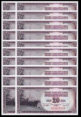 UNC Yugoslavia 20 Dinar 1974 P-85 5 PCS Consecutive Lot Prefix  DD