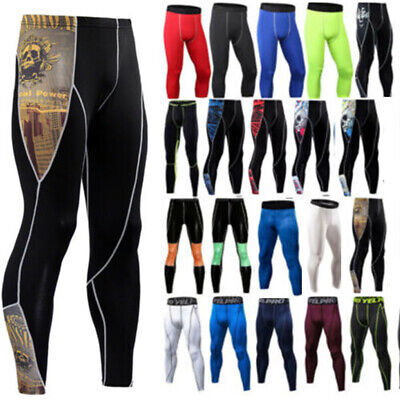 Men Gym Compression Slim Base Layer Sports Leggings Running Pants Trousers CA