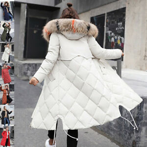 2019-Winter-Women-long-Down-Cotton-Parka-Fur-Collar-Hooded-Coat-Quilted-Jacket