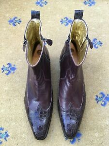 Rare-Oliver-Sweeney-Men-Brown-Leather-Boots-UK-11-5-US-12-5-EU-45-5-Croc