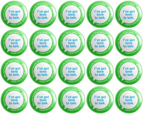 20 x Mental Health First Aider BUTTON PIN BADGES 25mm 1 INCH