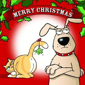 Merry christmas card with dog cat funny christmas card xmas card image is loading merry christmas card with dog amp cat funny m4hsunfo