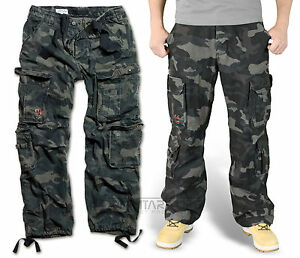 Image is loading SURPLUS-AIRBORNE-TROUSERS-BLACK-CAMO-RAW-VINTAGE-CARGO- 84e70fe27c805