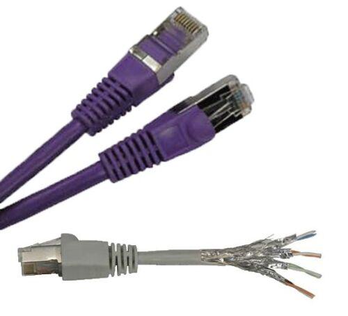 1/'ft Cat6a Purple Network Ethernet Patch Double Shielded SSTP Cable Lan 1ft