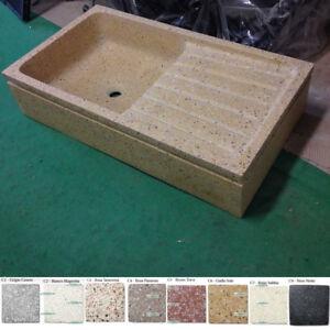 Graniglia Di Marmo Nero.Dettagli Su Lavandino Lavello Acquaio Cm 80 In Graniglia Di Marmo Levigata Cemento