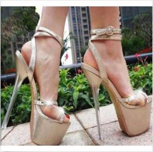 17cm-Womens-Platform-Open-Toe-New-Sandals-High-Heels-Ankle-Strap-Buckle-Shoes-Ch