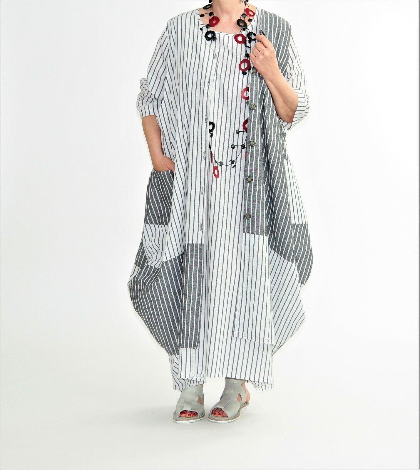 a14f7ca7db85f5 AKH Fashion Ballon-Leinen-Weste 46,48,50,52,54,56 weiß-grau ...